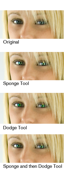 Using the Sponge Tool in Photoshop: Eyes Part 2