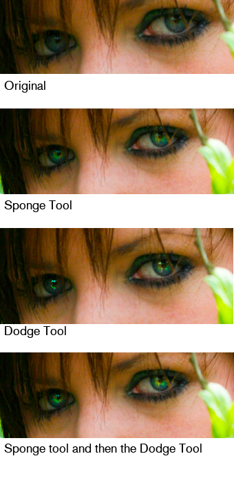 Using the Sponge Tool in Photoshop: Eyes