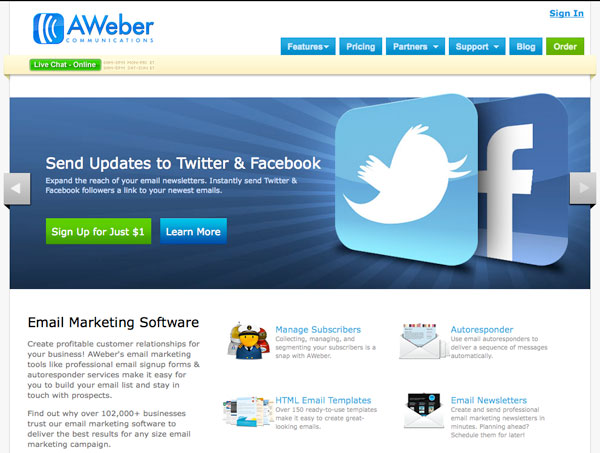 aweber Email Marketing services provider