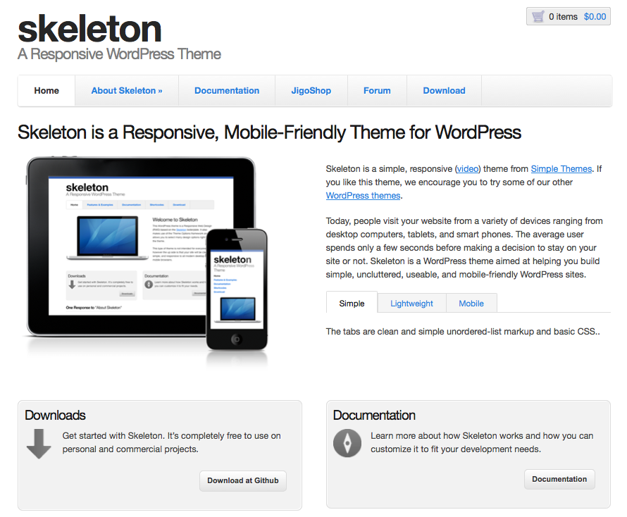 Skeleton free responsive Wordpress Theme