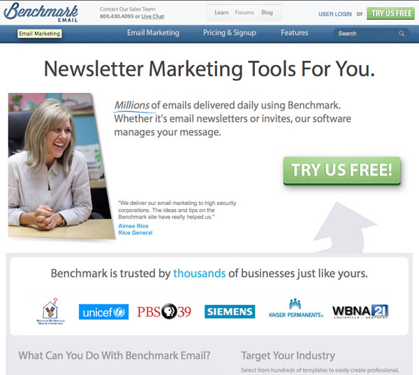 benchmark Email Marketing service provider