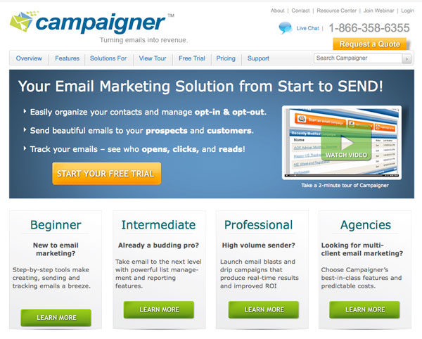 campaigner Email Marketing service provider