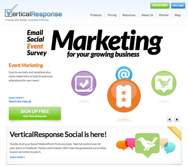 vertical response Email Marketing service provider