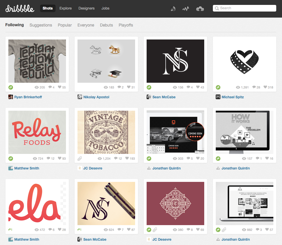 Dribbble - Portfolio Websites for Designers