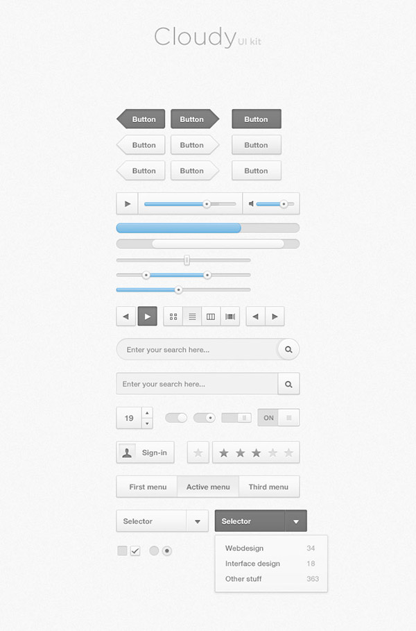 Cloudy Free Photoshop UI Kit