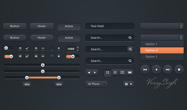 Dark Free Photoshop UI Kit