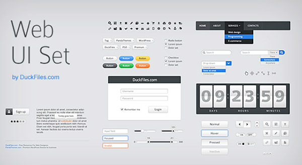 Web UI Set Free Photoshop UI Kit