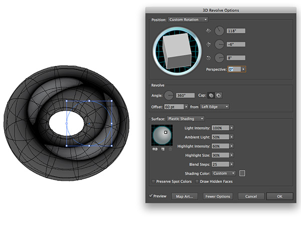 Settings 3D in Illustrator
