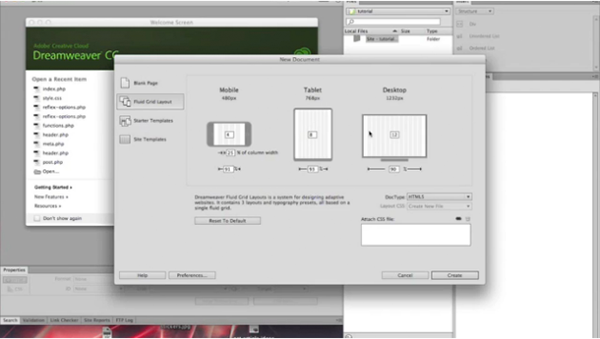 Using Fluid Grid Layouts in Dreamweaver