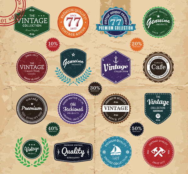 Vector Vintage Label Sets