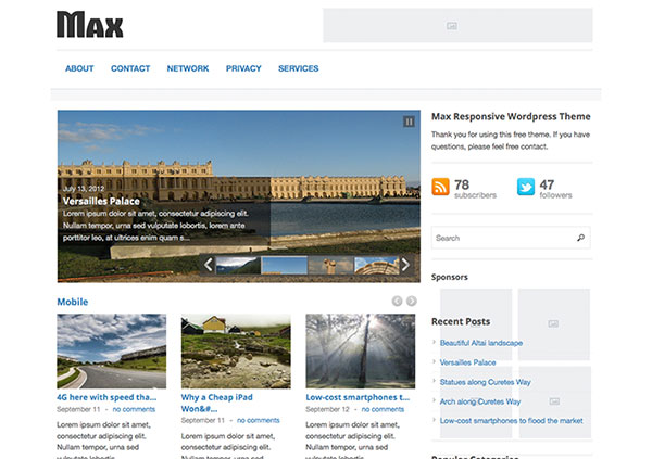 max Free WordPress Theme