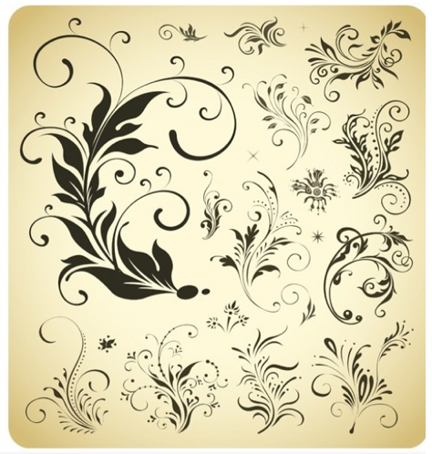 Lovely Floral Vector Design Elements