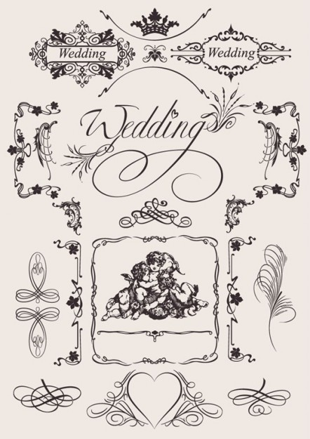 Wedding vintage design elements
