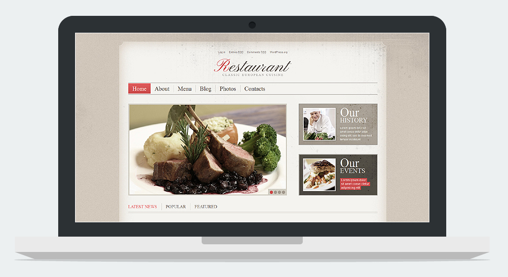 Restaurant Cherry Framework Responsive WordPress Theme