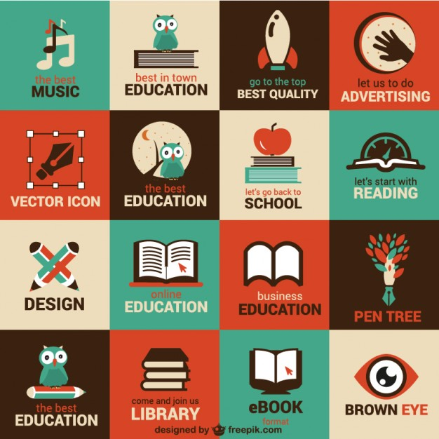 Free School vectors: vintage icons