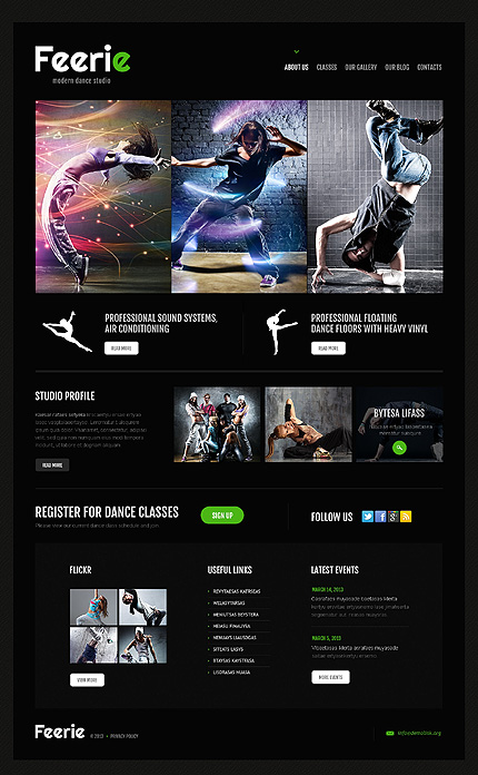 Dance Studio Responsive WordPress Theme